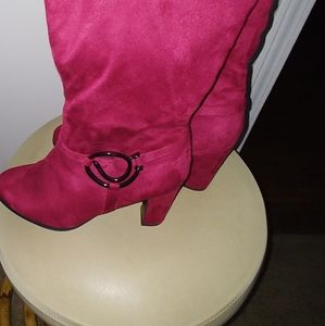 Red faux suede boots size 8.5